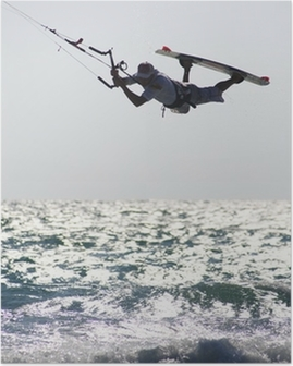 kitesurfer above wave Poster