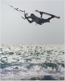 Poster Kitesurfer boven golf
