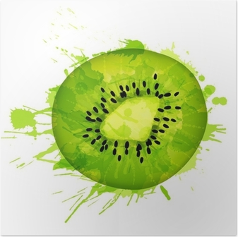 Kiwi fruit slice made of colorful splashes on white background Poster