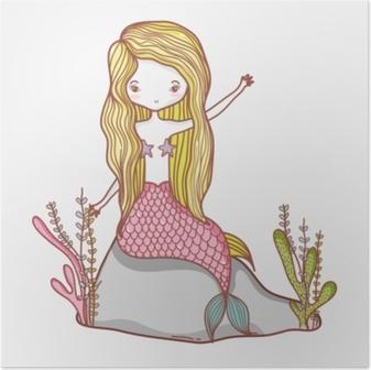 Poster Kleine zeemeermin cartoon