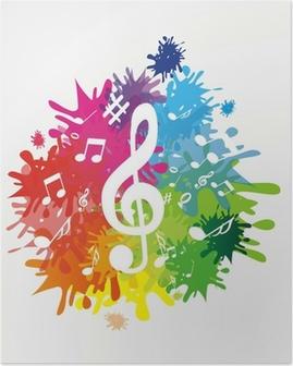 Poster Kleurrijke achtergrond met notities en treble clef