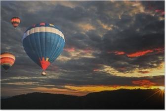 Poster Kleurrijke hete luchtballon