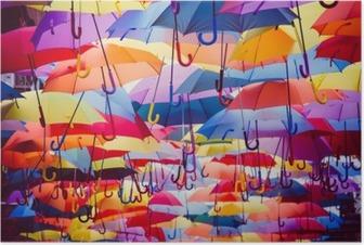 Poster Kleurrijke paraplu opknoping boven de straat