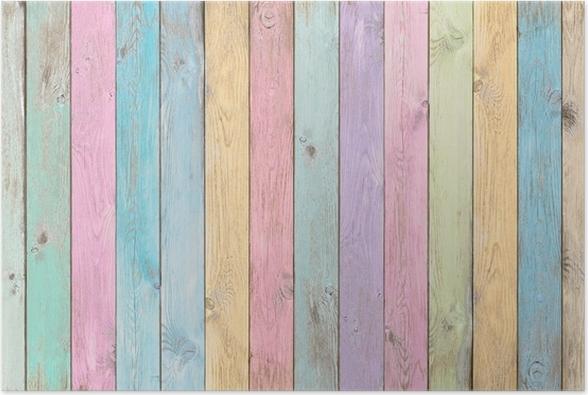 Kleurrijke Interieurs Pastel : Poster kleurrijke pastel houten planken textuur of achtergrond