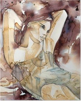 kobieta z rękoma pod głową Poster