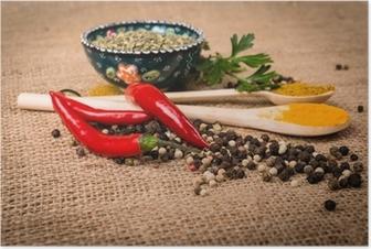 Poster Koken ingrediënten, kruiden op een jute