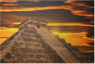 Kukulkan Pyramid in Chichen Itza Site Poster