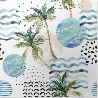 Poster Kunst illustratie met palmboom, doodle en marmeren grunge texturen.