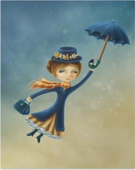 Poster Kvinna som flyger med ett paraply