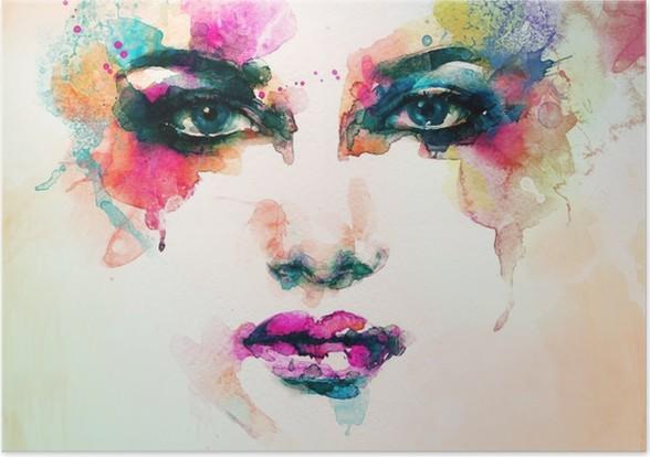 Poster Kvinna stående .abstract akvarell .fashion bakgrund - Människor