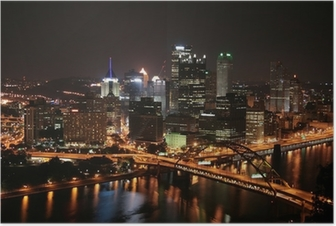 Poster L'horizon de Pittsburgh de Mount Washington dans la nuit.