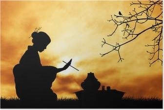 Poster La cérémonie du thé au coucher du soleil