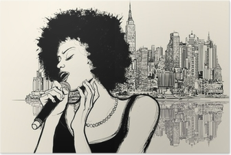 Poster La chanteuse de jazz afro-américain