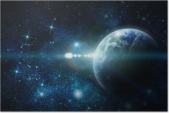Poster La planète terre réaliste dans l'espace