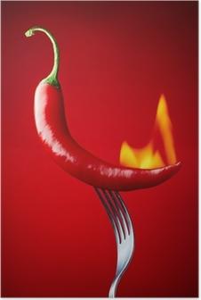 Póster La quema de chile rojo sobre fondo rojo