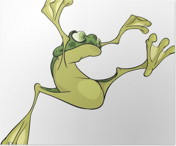 Póster La rana joven saltando. Dibujos animados • Pixers® - Vivimos ...