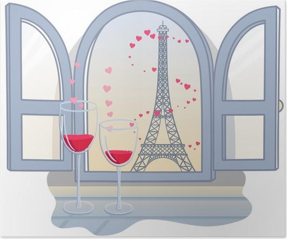 Poster La tour Effel Saint-Valentin et deux verres de vin. Vector illust - Monuments