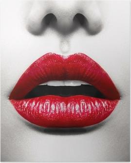 Póster Labios atractivos. Imagen conceptual con la boca abierta Vivid Red