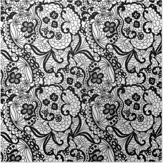 Lace black seamless pattern with flowers on white background Poster