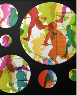 Lacrosse players active men sports silhouettes abstract backgrou Poster