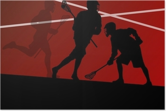 Lacrosse players active sports silhouettes background illustrati Poster
