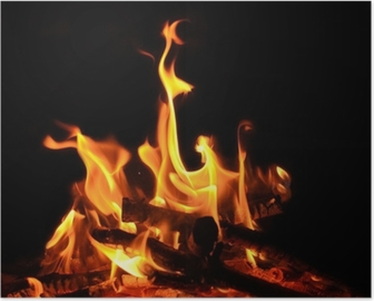 Poster Lagerfeuer, offenes Feuer, Flammen, Glut
