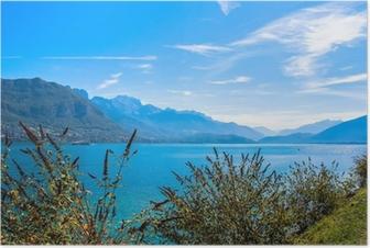Poster Lake in Frankrijk in de buurt van Annecy stad