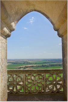 Poster Landschap door kasteel gotische venster, Spanje