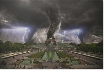 Large Tornado over Eiffel Tower Paris Poster