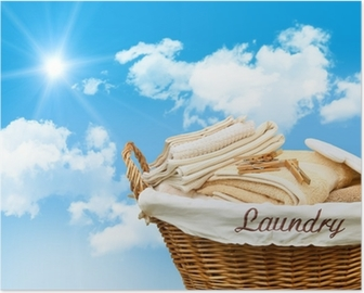 Laundry basket with towels Poster