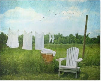 Laundry drying on clothesline Poster