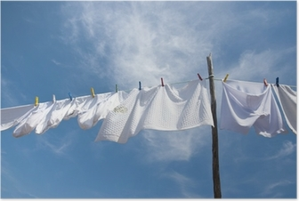 Laundry drying on the rope outside Poster