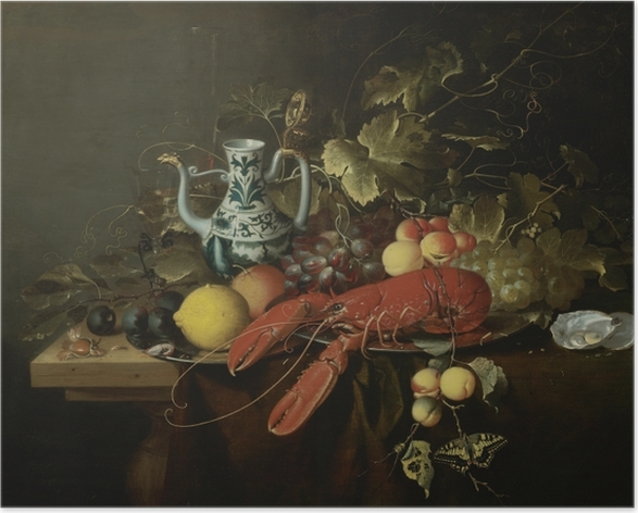 Póster Laurens Craen - Still Life With A Lobster On A Pewter Plate, Lemons, Grapes, Apricots, Oysters - Reproducciones