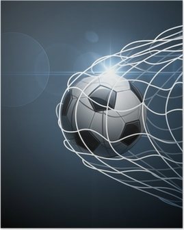 Poster Le ballon de football dans le but. Vecteur