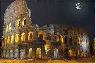 Poster Le Colisée, à Rome. Vue de nuit