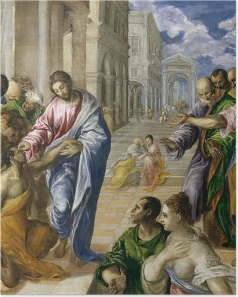 Poster Le Greco - Le Christ guérissant un aveugle - Reproductions