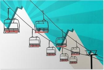 Poster Le sport télésiège de fond l'hiver