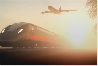 Poster Le train et l'avion