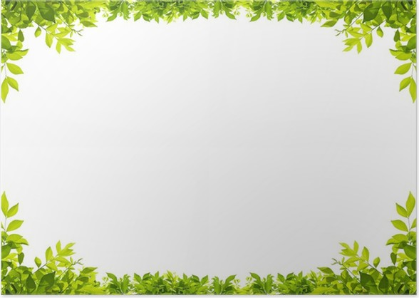 leaves frame isolated on white background Poster • Pixers® • We live ...