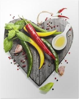 Poster Légumes frais sur le coeur en forme de planche à découper
