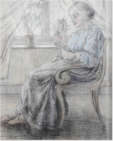 Poster Leo Gestel - Femme tricot - Reproductions