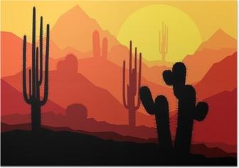 Poster Les cactus au Mexique désert coucher du soleil vecteur