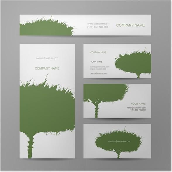 Poster Les Cartes De Visite Collection Conception Darbre Vert