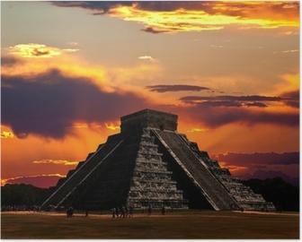 Poster Les temples de chichen itza temple au Mexique