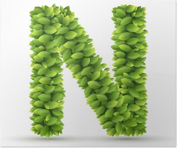 Póster Letra N, alfabeto vector de hojas verdes • Pixers® - Vivimos ...