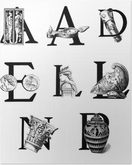 Poster Lettrines ADELNP - ämne: Antiken
