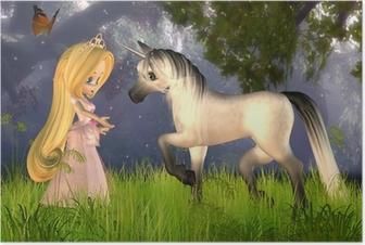 Poster Leuke Toon Fairytale Princess en Eenhoorn