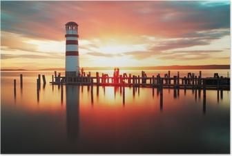 Poster Lever de soleil à la plage avec le phare