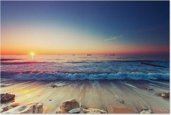 Poster Lever du soleil sur la mer