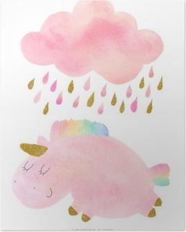 Poster Licorne Aquarelle et de nuages avec de la pluie